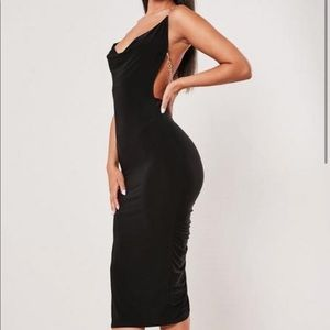 Black Low Back Midi Dress